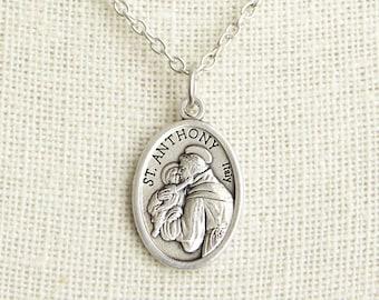 St anthony pendant necklace saint anthony of padua jewelry saint anthony medal necklace st anthony necklace catholic necklace patron saint necklace aloadofball Choice Image