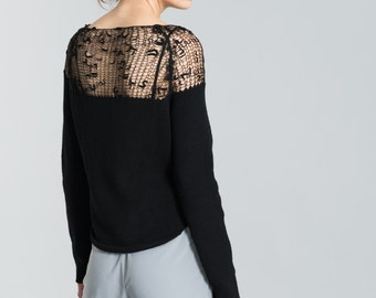 Sheer Sweater / Hand-knit Blouse / Transparent Casual Shirt / Cropped Sweater / Black Jumper / Marcellamoda k - MB0179