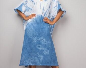 Boho dress, Kaftan, Tie Dye Summer Dress, Tunic dress, Blue and White Kaftan Dress, Festival outfit, Indigo dress : Shibori Collection