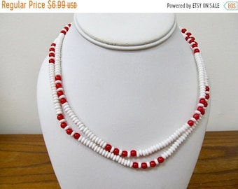 ON SALE MONET Vintage Red and White Plastic Beaded Necklace Item K # 1042