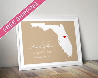 Personalized Housewarming Gift or Wedding Gift : Custom Location and Map Print - Florida - Wedding Guest Book Poster