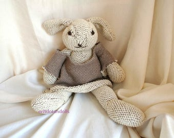 Bunny, 17inch/42.5cm made of unique cotton,stuffed with merino wool roving, for all ages