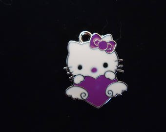 Cat heart enameled metal pendant