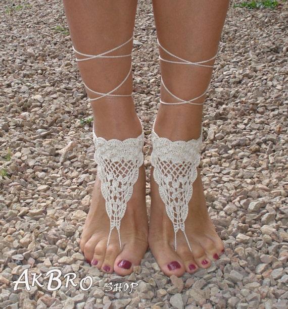 Barefoot Crochet Sandals Footless Sandles Ivory Barefoot