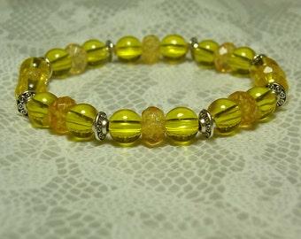 "Cynthia Lynn ""NOVEMBER'S CHILD"" Ladies Golden Citrine Birthstone Tibet Silver Stretch Bracelet"