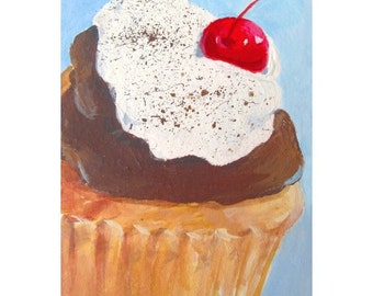 Original Painting * TIPSY CUPCAKE * ACEO Small Art Format by Rodriguez * Dessert Series