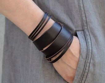 NIDA mix Leather Bracelet, Brown Leather Bracelet, thick surplus leather bracelet
