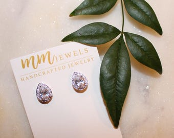 Crystal Teardrop Occassion Studs | Gold or Silver, Bridesmaid jewelry, crystal studs, gifts for her, wedding jewelry