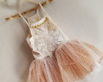 Girls size 5-6 white ballerina flower girl dress with vintage doilies and tulle/organza skirt. One of a kind.