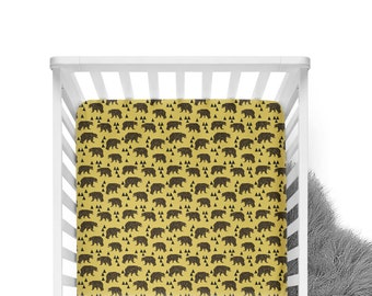 Fitted Crib Sheet Geometric Bear - Mustard and Brown -Woodland Crib Sheet-Bear Crib Bedding-Bear Crib Sheet-Organic - Mustard Sheet