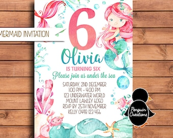 Mermaid Birthday Invitation. Mermaid Birthday Party. Pink Mermaid. Party Supplies