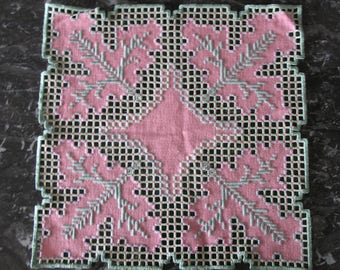 Pink and green Hardanger embroidered doily