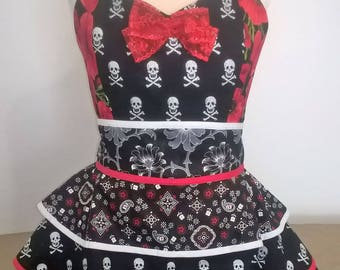 One of a kind, original design skully pirate apron/ pinafore