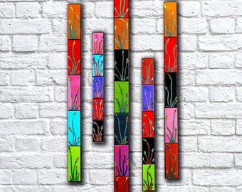 Large Wall Art Set. Floral Wall Art Set of 5. Home Decor. Fused Glass Art. Tall Vertical Wall Art. Floral Wall Decor. 5 Piece Wall Art Set.
