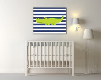 Alligator wall art Baby Boy Alligator Nursery Art Crocodile wall art Baby Boys Navy Blue and Green Nursery - Custom Color - H1070- Unframed