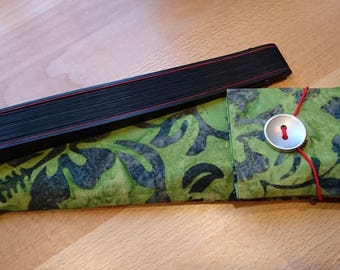 Hand Fan Pocket, Japanese Cotton fabric, Batik, Olive Green • FREE Shipping