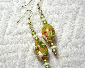 Yellow Stippled Earrings - Dangle Earrings - Earrings - E69