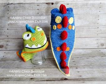 Crochet Dinosaur Hat PDF Pattern Sizes Newborn to Adult Boutique Design - No. 62 by AngelsChest