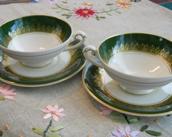 Reduced - 2 cups or bowls n saucers Queen Elizabeth crowning - 1950s