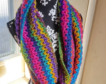Chunky Crochet Infinity Scarf Rainbow Cowl Hooded Scarf Ready to be shipped today