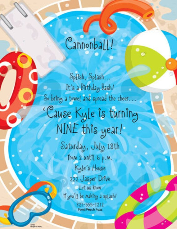 cannonball splash pool party celebration party invitation