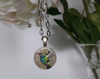 Handpainted hummingbird shilling necklace. Keepsake