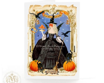 Halloween card, witch card, Gothic, holiday card, Marie Antoinette, let them eat cake, blank inside