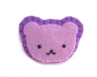 Cute purple bear pin, lavender bear cub, purple felt bear, purple teddy bear brooch, cute animal jewelry