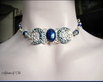 Lapis Gemstone Triple Moon Choker, Goddess Necklace, Pagan Ritual, Silver and Lapis Circlet, Choose Style