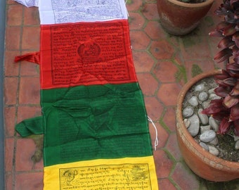 Silk Mixed Vertical Pole Prayer Flags..