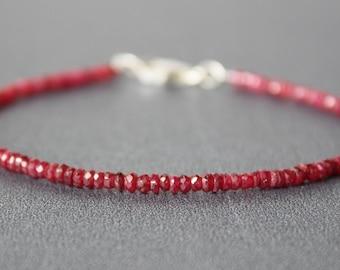 Ruby Bracelet, Ruby Bracelet, All Natural Longido Ruby Bracelet, Dainty Beaded Gemstone Bracelet