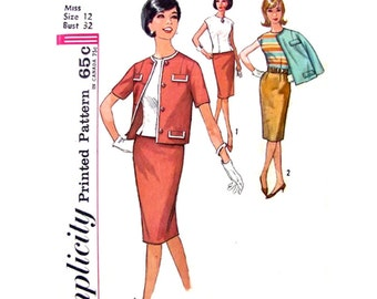 1960s Vintage Lined Jacket, Blouse, Slim Skirt Pattern Simplicity 4810 Office Suit Womens Sewing Pattern Bust 32