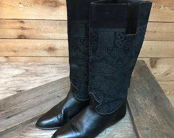Women's Vintage Tall Leather Inca Pattern Boots Vtg Black Suede and Leather Boho Boots Size 6 1/2B