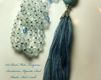 Mala Quaste Halskette - 108 Perlen Gebet Meditation Mala mit Multi Farbe Quaste