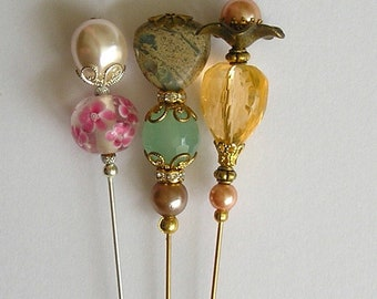 Three Lovely Glass Bead / Faux Pearl / Lucite 6 inch Handmade Hatpins / Hat Pin
