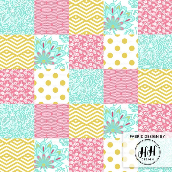 Gold pink floral cheater quilt fabric by the yard baby girl nursery quilt patches print in yard fat quarter from heatherhightdesign on etsy studio