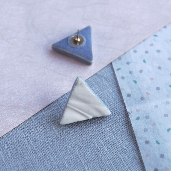 RUCHED No19 geometric triangle stud earrings