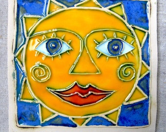 Ceramic tile - sun ,Handmade tile , Wall hanging