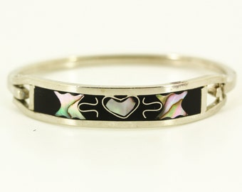 1970s Hecho En Mexico Silver Bracelet - Child Teen Inlaid Abalone Heart Butterfly Bracelet, Southwest Estate Jewelry, Mexican Silver Jewelry