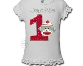 New Sock Monkey Birthday Shirt- Any Age and color scheme (6628)
