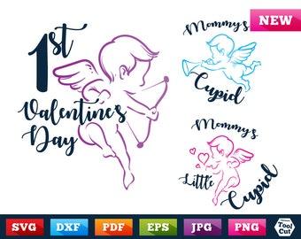 1st Valentine's Day Svg Baby Cupid Vector Svg Mommy's Cupid Silhouette Svg Dxf Little Cupid Svg Valentine's Day Baby & Kids Design Cuttable