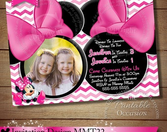 ANY AGE Minnie Mouse Invitation For Twins or Siblings, Pink Chevron Mouse Minnie Mouse Birthday Invitation, Twins Siblings Chevron