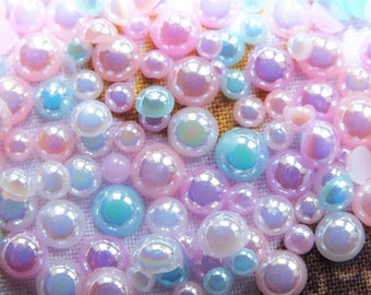 Mixed Faux Half Pearls AB Shimmer Sizes 4mm-12mm Choose Amount Decoden Craft DIY Flatback Cabochon Not hot fix Glue On Pastel Mix