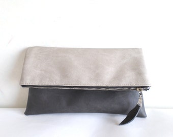 Leather clutch, Vegan faux leather clutch, Charcoal gray and light gray colorblok foldover zippered clutch purse