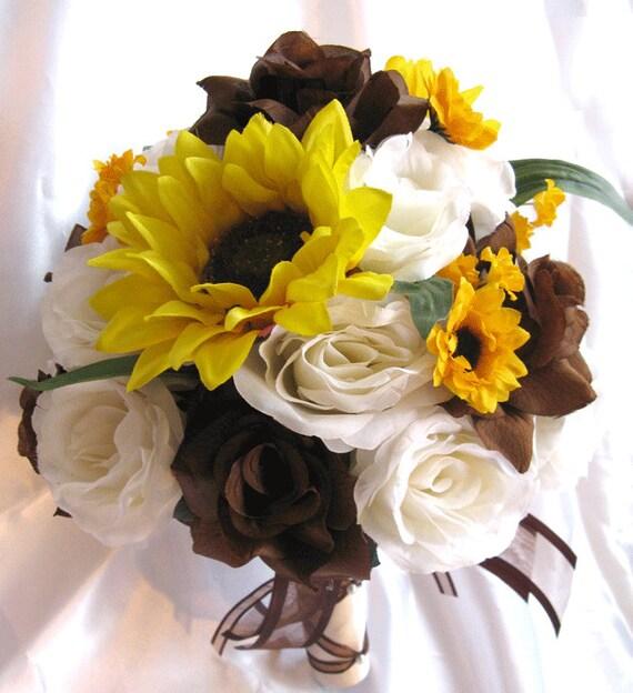 Wedding bouquet bridal silk flowers brown sunflower yellow mightylinksfo
