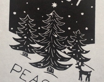 Joy & Peace Original Linocut Print