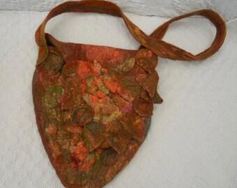 Spring Sale, wet felted shoulder bag, autumn leaves bag,shoulder bag, nuno felted bag, cross body bag, autumn colours