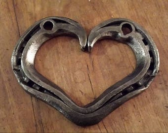 Hand forged metal love heart horseshoe Valentines