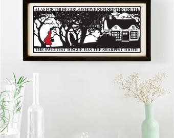 Red Riding Hoods Folly Signed and Framed Papercut Print • Little Red Riding Hood • Fairytale Wall Art • Paper Cut Quote • Fairy Tale Gift