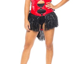 Red Pleather Halter Corset With Fringe Size: 2-4